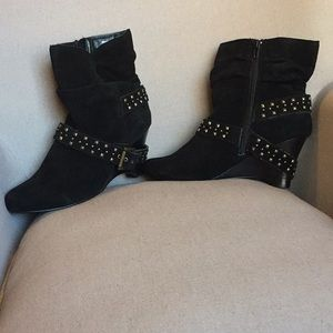 Black Suede Heeled Booties With Buckle Detailing